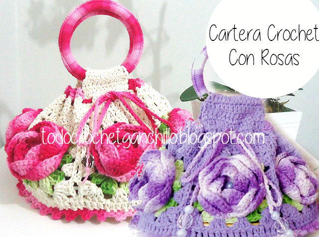Bolso con grannys y flores aplicadas