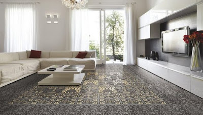 patterned living room floor tiles as decoration ideas