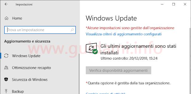 Windows Update Windows 10 con disattivato il pulsante Verifica disponibilità aggiornamenti