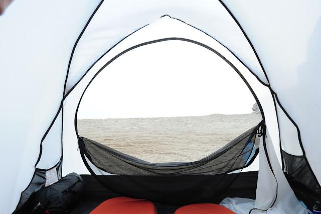 divje kampiranje, Oman plaža, Yitti beach, zračnost šotora