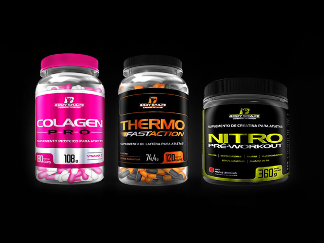 Colagen Pró, Thermo Fast Action e Nitro Pré-Workout - Body Shape