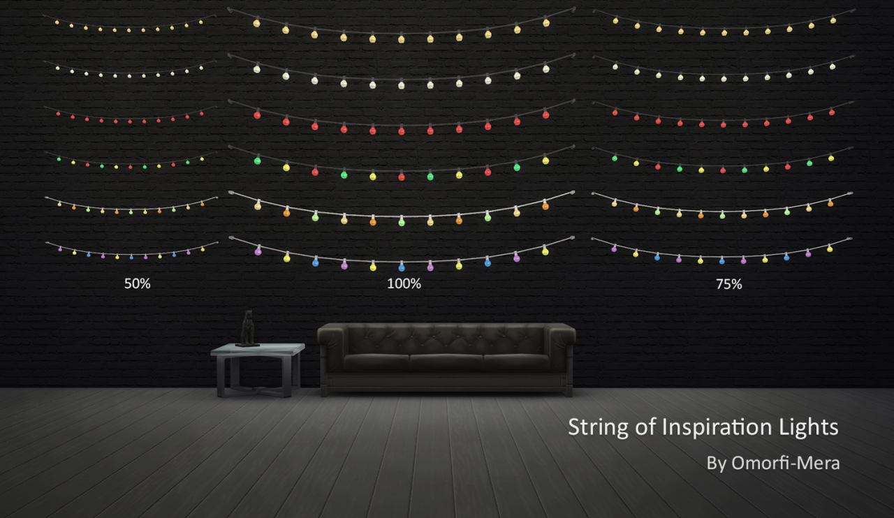 My Sims 4 Blog Ts3 String Of Inspiration Lights By Omorfimera