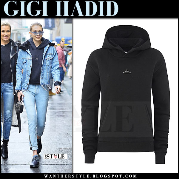 Gigi Hadid in denim jacket and black hoodie holzweiler what she wore may 26 2017 new york