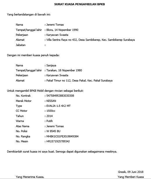 contoh surat kuasa pengambilan bpkb mobil atau motor