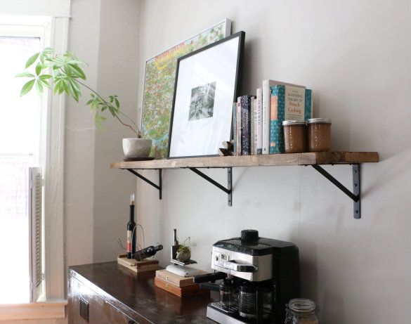 Wood Shelves Kitchen Island Chairs With Backs Things Are Looking Up Installing Our Exposed Shelf