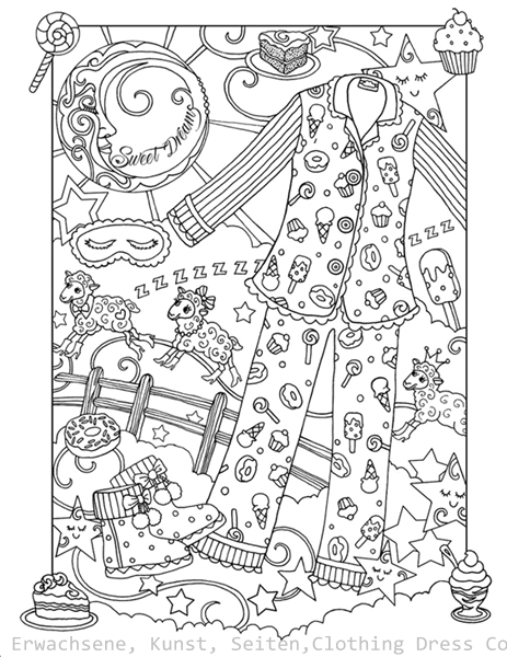 Kleidung Kleid Färbung für Erwachsene Kunst Seiten | Free Mandala ...