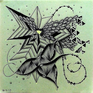 Zentangle Refresher #28 with Patterns: Tripoli, Asian Fans, Mumsy, Beadlines, Afterglo