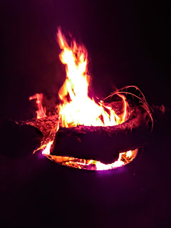 A log glows purple in a fire pit at night