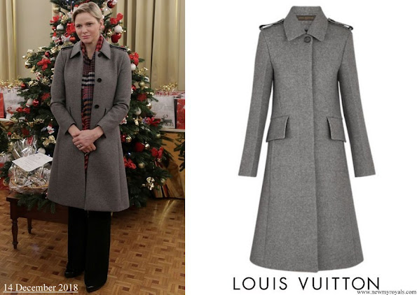Princess Charlene wore Louis Vuitton Wool Grey Coat