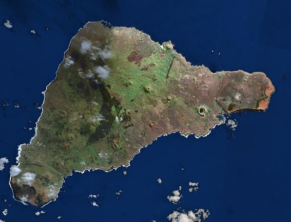 Vista aerea de la Isla de pascua