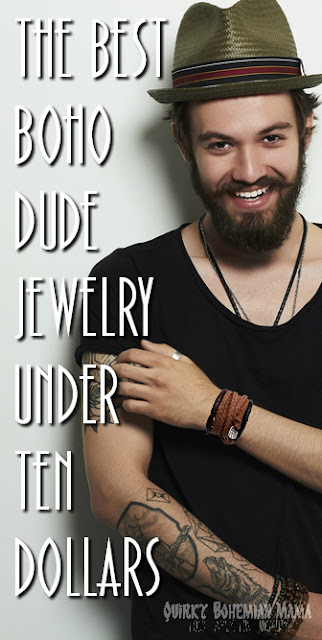 Men's bohemian jewelry under $10. Men's hippie boho jewelry under $10. Affordable men's jewelry.  mens boho jewelry, bohemian chic jewelry,