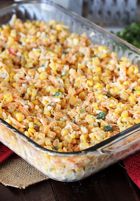 Cheesy Fiesta Corn Casserole in Baking Dish Ready to Be Baked Image