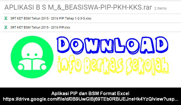 Aplikasi PIP dan BSM Format Excel