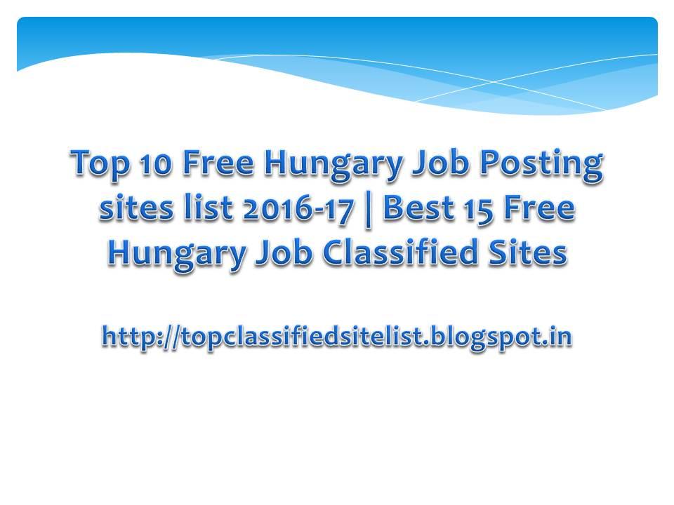 Top 10 Free Hungary Job Posting sites list 2016-17 | Best 15 Free ...