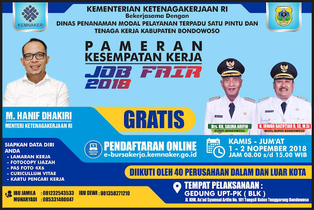 Job Fair Kabupaten Bondowoso 2018 (Gratis)