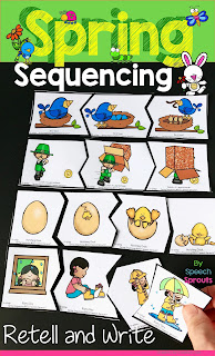Sequencing picture puzzles for spring speech therapy
