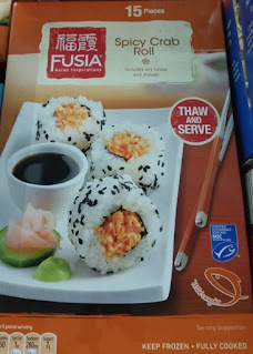 Box packaging of Fusia Spicy Crab Roll Frozen Sushi, from Aldi