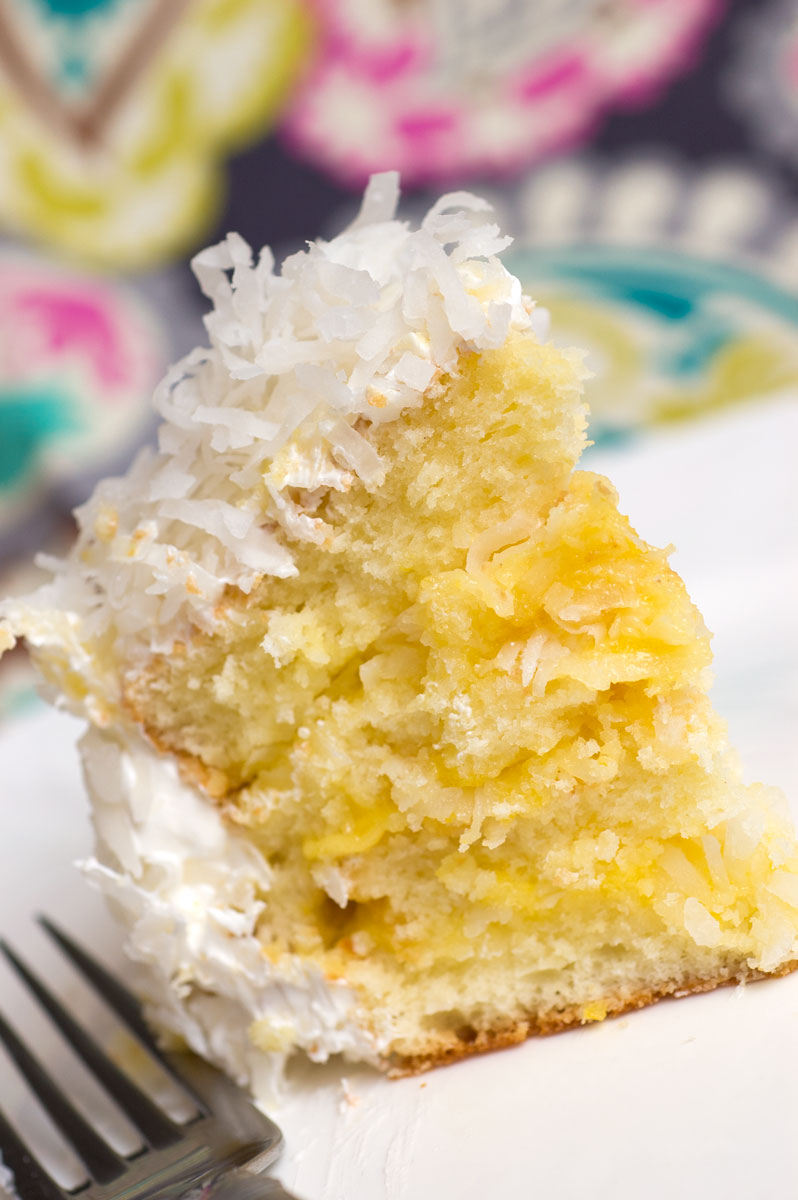 Coconut Cake With  Minute Frosting And Lemon Filling