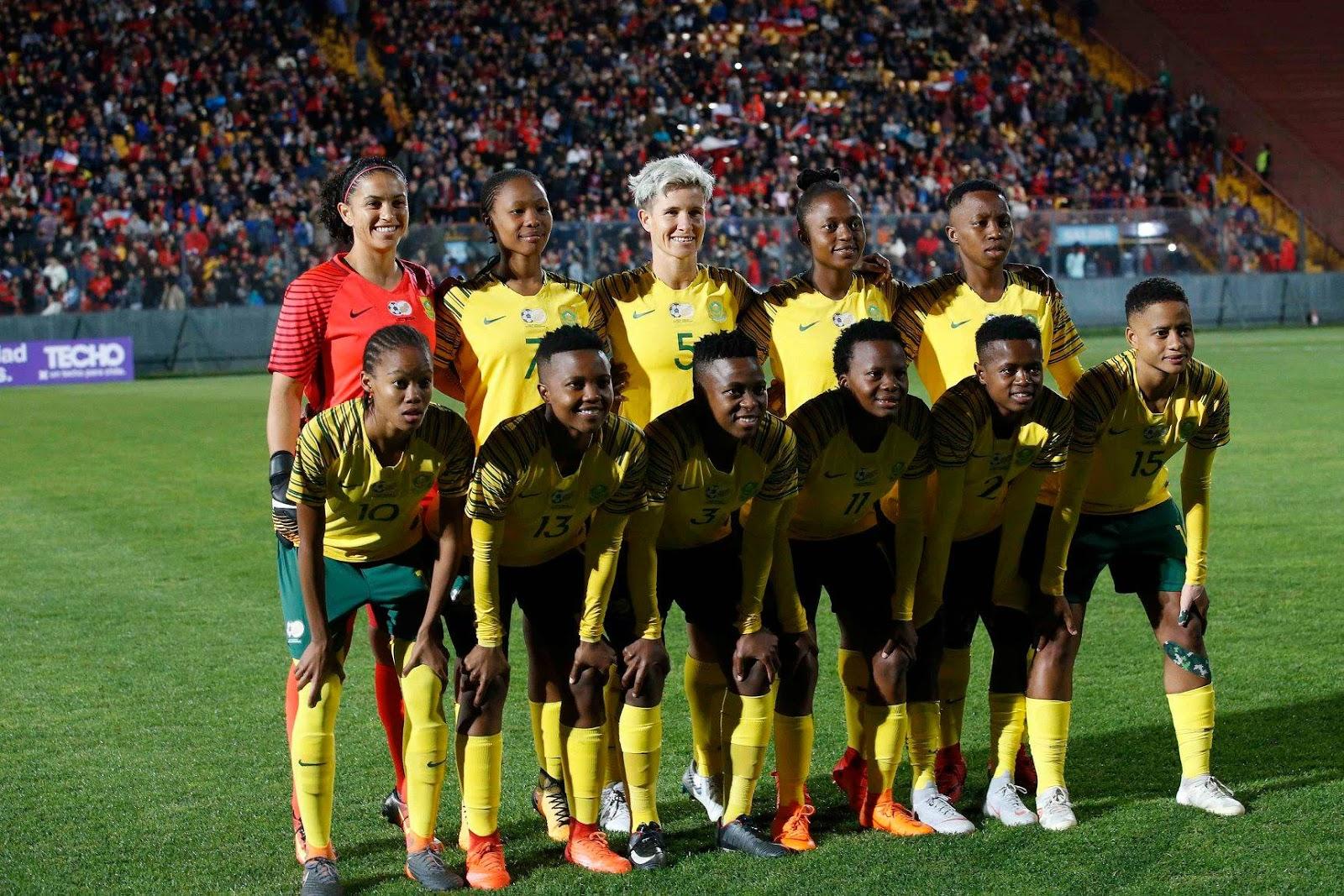 Formación de selección femenina de Sudáfrica ante Chile, amistoso disputado el 9 de octubre de 2018