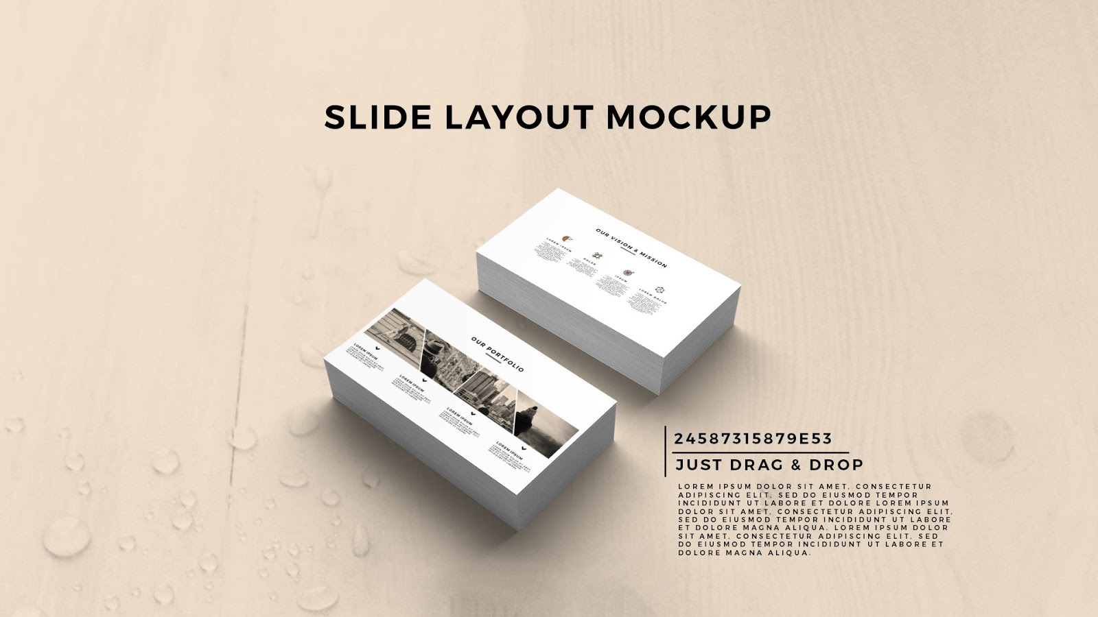 Free PowerPoint Template With Business Card Presentation Mockup