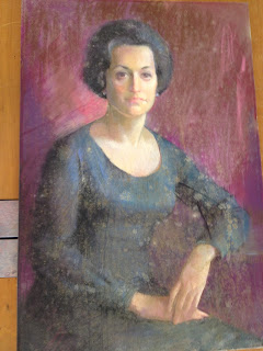 before treatment of pastel portrait with mold mould growth, paper conservation, professional art conservator