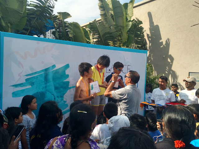 Children recieving medals