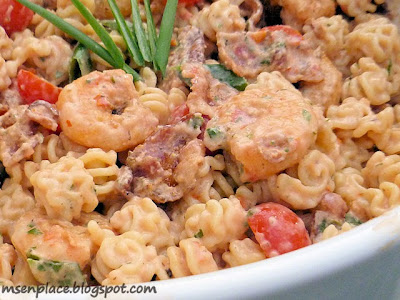 Blackened Shrimp Pasta Salad w/ Creole Tomato Dressing