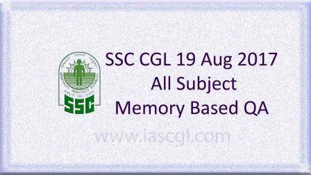 SSC CGLE 19 Aug 2017 All Subject, QA