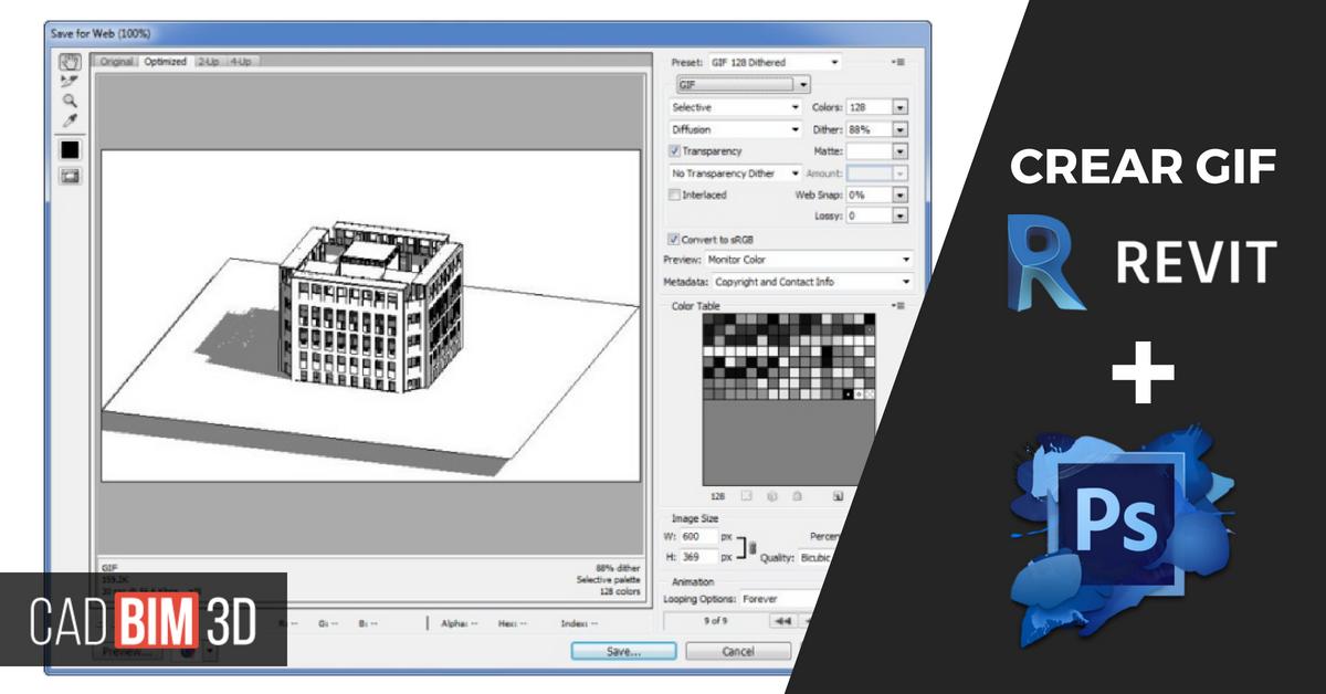 Cómo crear un GIF animado en Revit usando Photoshop