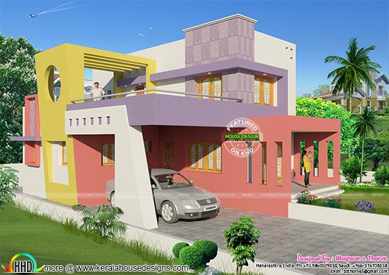 1750 sq-ft colorful modern house plan