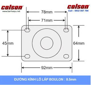 Bảng vẽ kích thước tấm lắp bánh xe PU đỏ càng bánh xe inox 304 | 2-3308SS-944