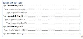 Contoh daftar isi yang telah ditambah Type chapter title