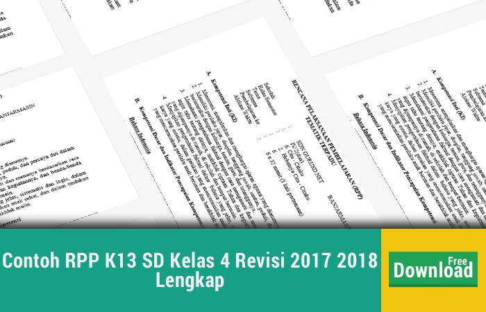 Contoh RPP K13 SD Kelas 4 Revisi 2017 2018 Lengkap