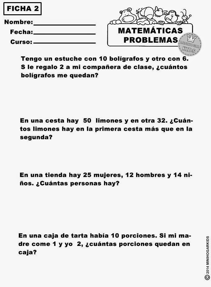 MinihogarKids: MATEMÁTICAS PRIMARIA. EJERCICIOS DE