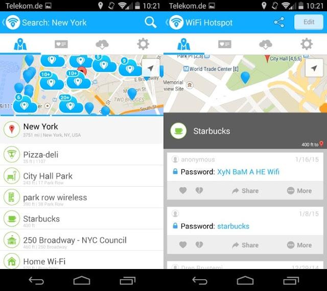 Tampilan Aplikasi WiFi Map Free Hotspot Password Pro
