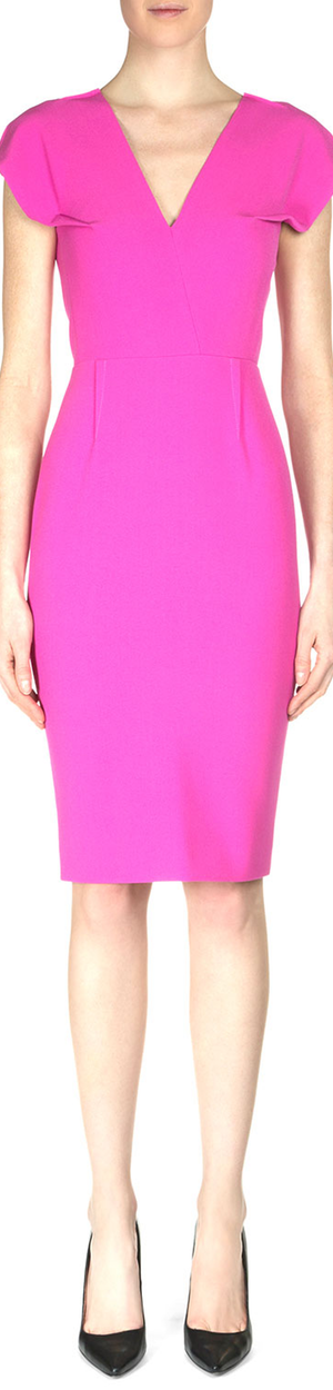 Roland Mouret Afyon Cap-Sleeve Crepe Sheath Dress Fluro Pink