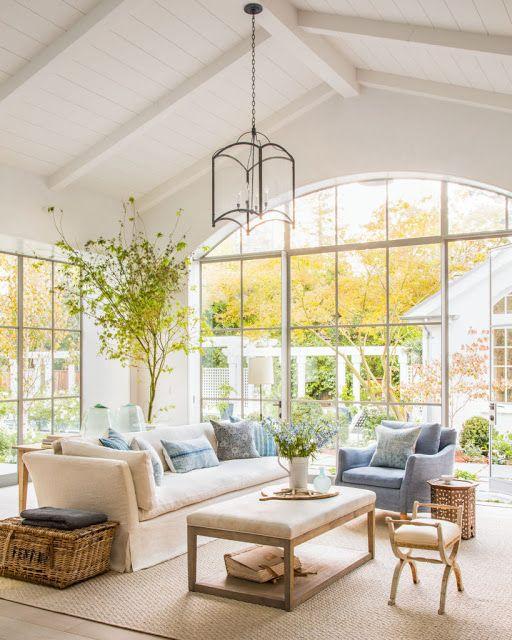 Beautiful modern farmhouse style family room (Giannetti Home) inspiration on Hello Lovely Studio