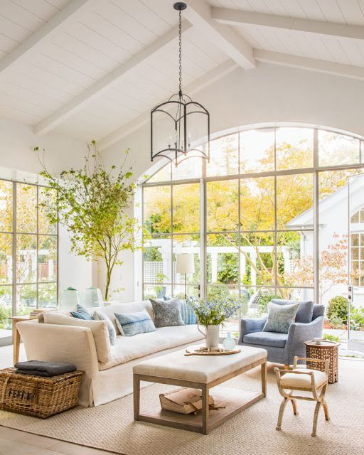 Beautiful modern farmhouse style family room (Giannetti Home) inspiration on Hello Lovely Studio