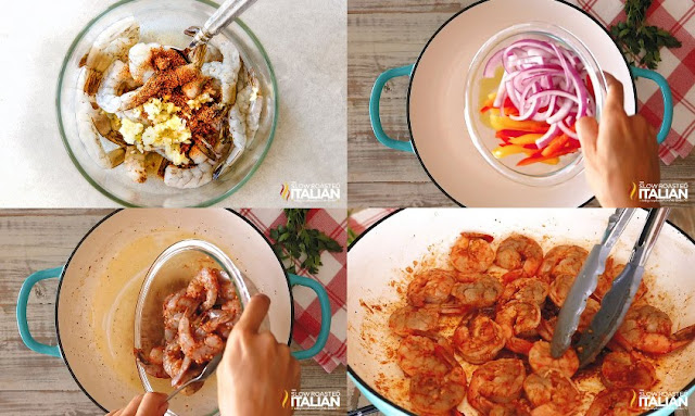 step by step cooking veggies and tossing shrimp