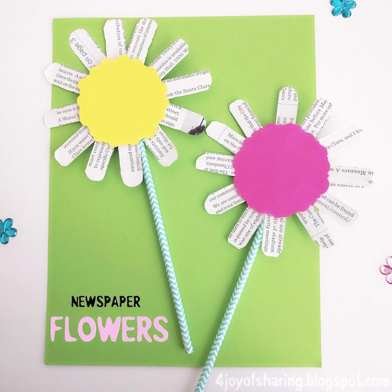 newspaper flowers recycled craft for kids the of 7847
