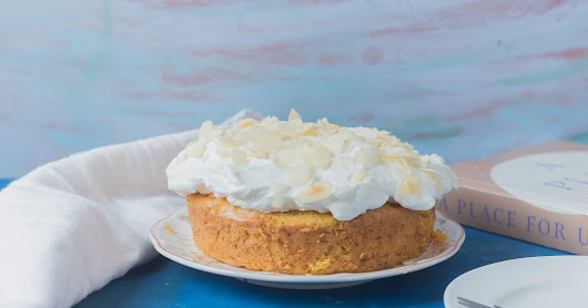 Eggless Whole Wheat Mango and almond spiced cake with Whipped cream