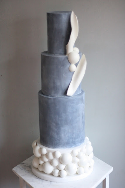 K'Mich Weddings - wedding planning - wedding concrete three-tier with balloons cake - Malarkey Cakes Studios