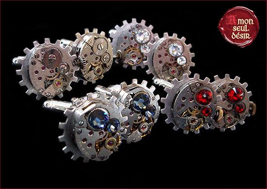 bouton de manchette steampunk rouage argent mécanisme engrenage montre mécanique bijoux victoriens homme time lord gentleman dandy messieurs