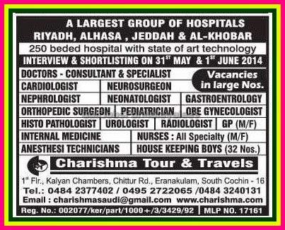 Largest Hospital Group Job vacancies in Riyadh, AlHasa, Jeddah & Al