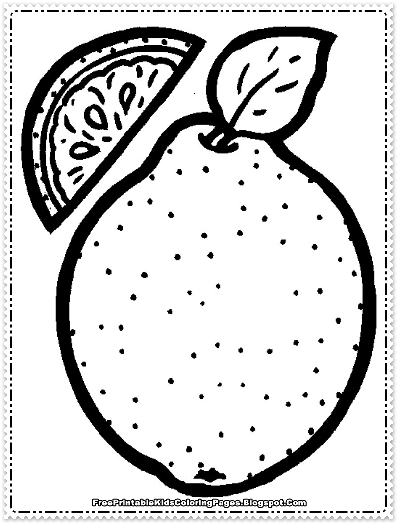 Orange Fruit Printable Coloring Pages