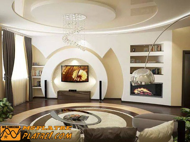 Salon de coin en platre platre for Decoration plafond platre france