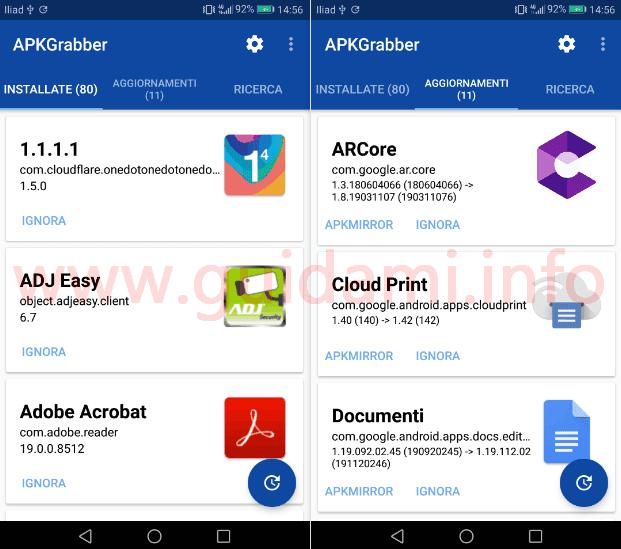 Interfaccia app APKGrabber per Android schede Installate e Aggiornamenti