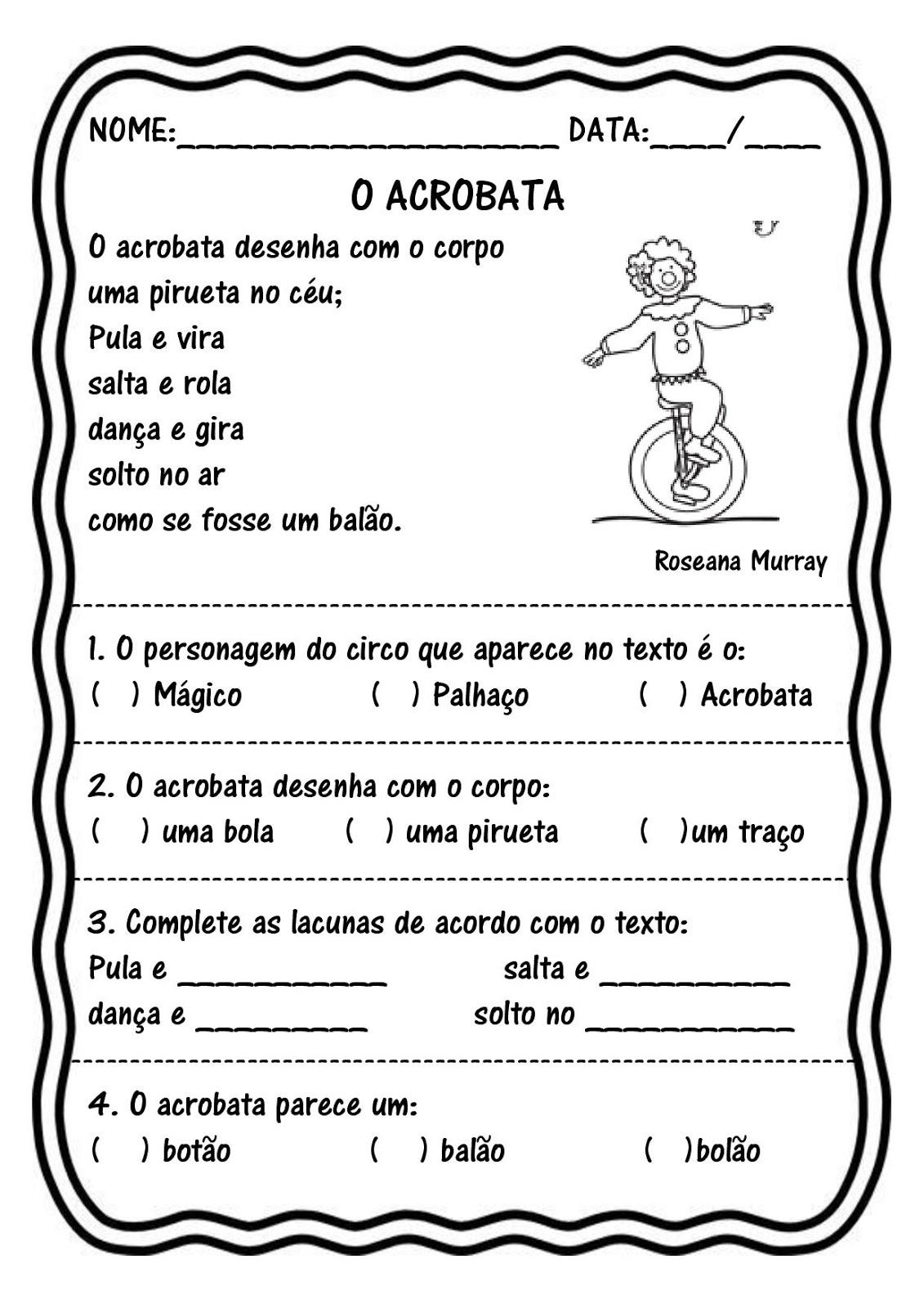 o%2Bacrobata-page-001 Leitura e interpretação 2º ano Dia do Circo