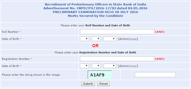 Exam Result of SBI PO Prelims 2016