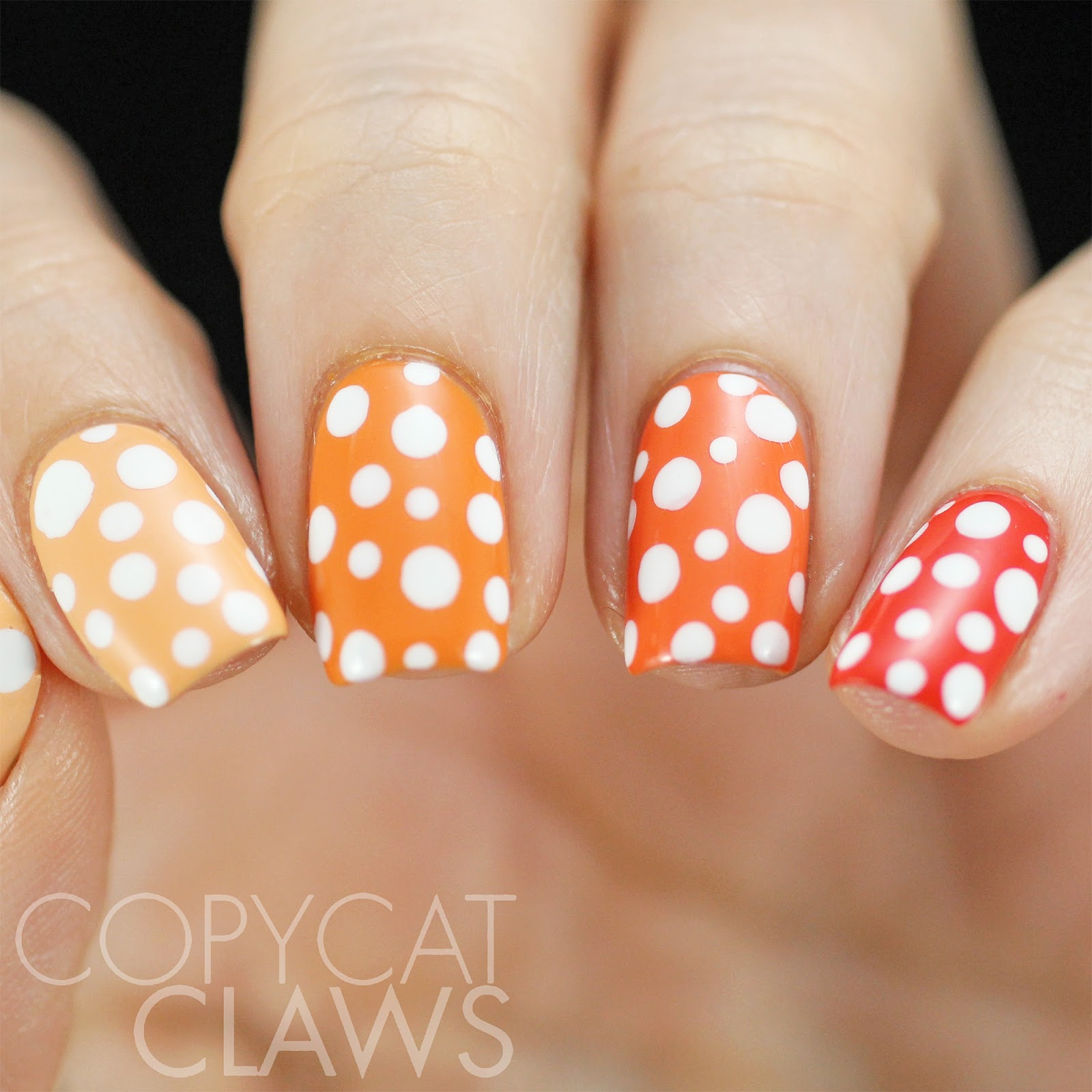 Copycat Claws: 40 Great Nail Art Ideas - 3 Shades of Red/Orange